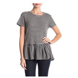 B Collection by Bobeau Striped Knit Peplum Top XL